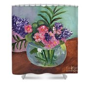 Flowers In Round Glass Vase Shower Curtain