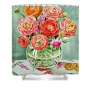 Flowers In The Glass Vase Shower Curtain