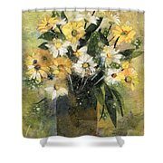 Flowers In White And Yellow Shower Curtain