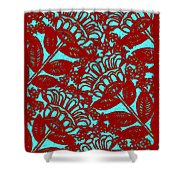 Flowers Indigo Red And Blue Shower Curtain