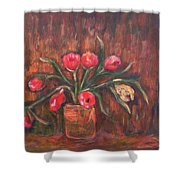 Flowers Of Pink In Vase Shower Curtain