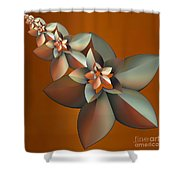 Flowers On Bronze Shower Curtain