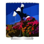 Flowers On Lamppost Shower Curtain