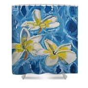 Flowers On Water Ripples Shower Curtain