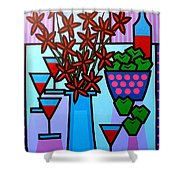 Flowers Wine Apples Shower Curtain