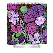 Flowers With Basket Weave Shower Curtain
