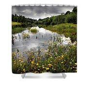 Flowery Lake Shower Curtain by Carlos Caetano
