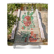Flowery Stairs Shower Curtain