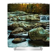 Flowing River On Greenbrier Cove Road Smoky Mountains National P Shower Curtain