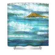 Flowing River With Briliant Sun Reflections And Stone, Closeup Painting Detail. Shower Curtain
