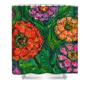 Flowing Zinnias Shower Curtain