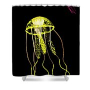 Flows Of Yellow Marine Life Shower Curtain