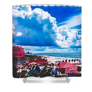 Fluffy Clouds Over Clearwater Beach Shower Curtain