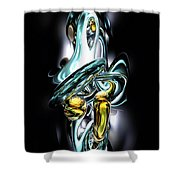 Fluidity Abstract Shower Curtain