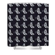 Fluttering Butterflies - Navy And White Shower Curtain