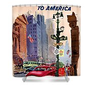 Fly Bcpa To America Vintage Poster Restored Shower Curtain