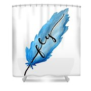 Fly Blue Feather Vertical Shower Curtain