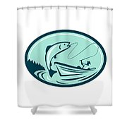 Fly Fisherman Boat Reeling Trout Retro Shower Curtain