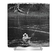 Fly Fishing In Black And White Shower Curtain