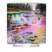 Fly Fishing In River At Sunrise Shower Curtain
