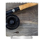 Fly Fishing Reel And Line On Rustic Wood  Shower Curtain