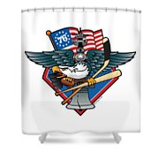 Fly. Philly, Fly, Crest Shower Curtain