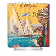 Fly To Australia And New Zealand, Airline Poster Shower Curtain