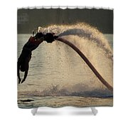Flyboarder About To Enter Water With Hands Shower Curtain