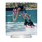 Flyboarder Bending Over To Dive Into Water Shower Curtain