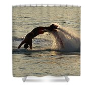 Flyboarder Diving In Up To His Arms Shower Curtain
