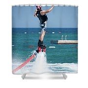 Flyboarder Falling Backwards Next To Swimming Platform Shower Curtain