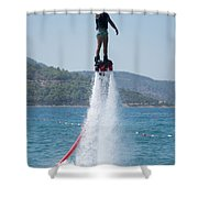 Flyboarder Giving Victory Sign With One Hand Shower Curtain
