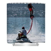 Flyboarder In Pink Shorts Above Jet Ski Shower Curtain