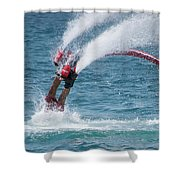 Flyboarder In Red Entering Water With Spray Shower Curtain
