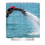 Flyboarder In Red Followed By Water Jet Shower Curtain