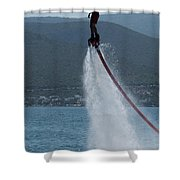Flyboarder In Silhouette Balancing High Above Water Shower Curtain