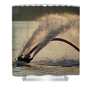 Flyboarder Only Showing Feet After Semi-circular Dive Shower Curtain