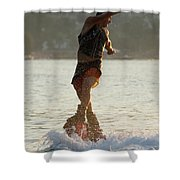 Flyboarder Twisting Upper Body Just Above Waves Shower Curtain