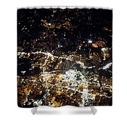 Flying At Night Over Cities Below Shower Curtain