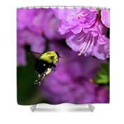 Flying Bee Collecting Pollen Shower Curtain