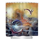 Flying Fishes Shower Curtain