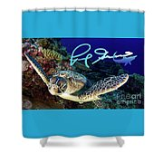 Flying Green Turtle With Logo Shower Curtain