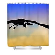 Flying Heron In Silhouette Shower Curtain