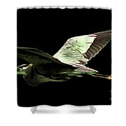 Flying Heron With Black Background Shower Curtain