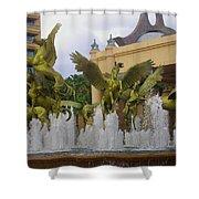 Flying Horses Of Atlantis Shower Curtain