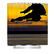 Flying Kick Over Muskegon Lake Shower Curtain
