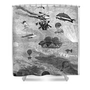 Flying Machines, 1864 Shower Curtain