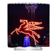 Flying Pegasus And Reunion Tower Night Shower Curtain