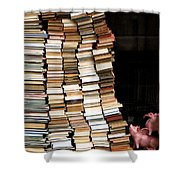 Flying Pigs And Books Shower Curtain