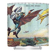 Flying Policemen, 1900s French Postcard Shower Curtain